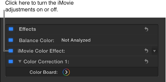 """""""视频""""检查器的""""效果""""部分,显示打开或关闭 iMovie 调整的复选框"""