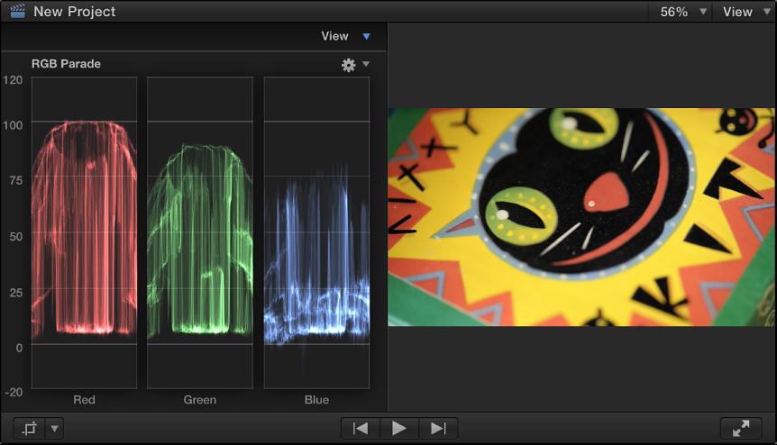 检视器和 RGB 列示图波形监视器