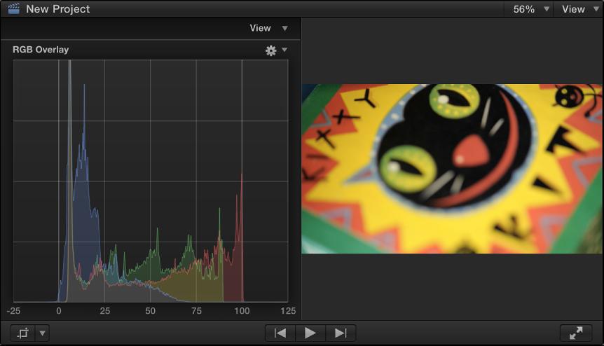 检视器和 RGB 叠层直方图
