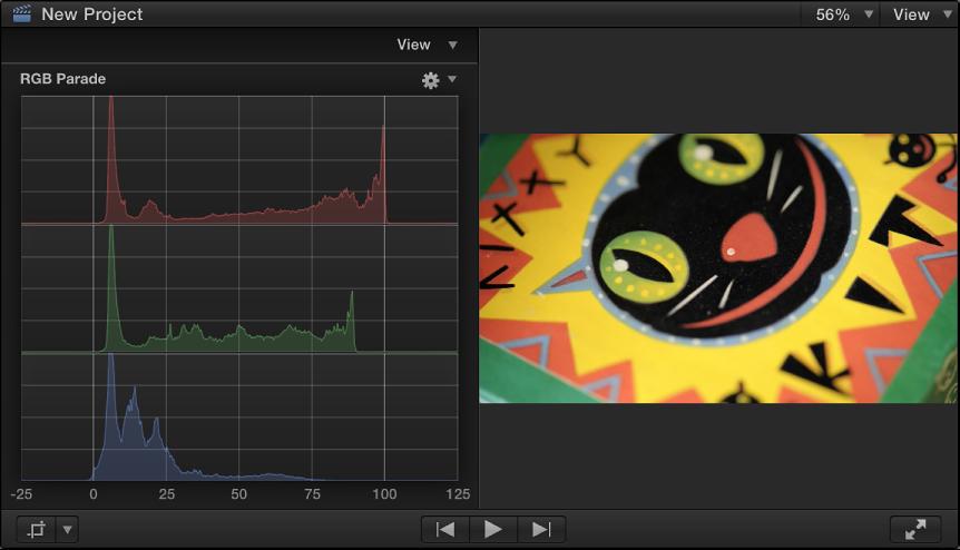 检视器和 RGB 列示图直方图