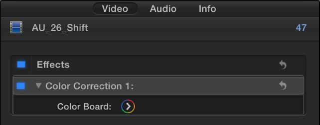 """""""视频""""检查器的""""效果""""部分中的""""色彩校正""""效果"""