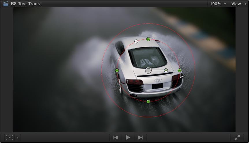 """显示""""形状遮罩""""屏幕控制和高斯效果的检视器"""
