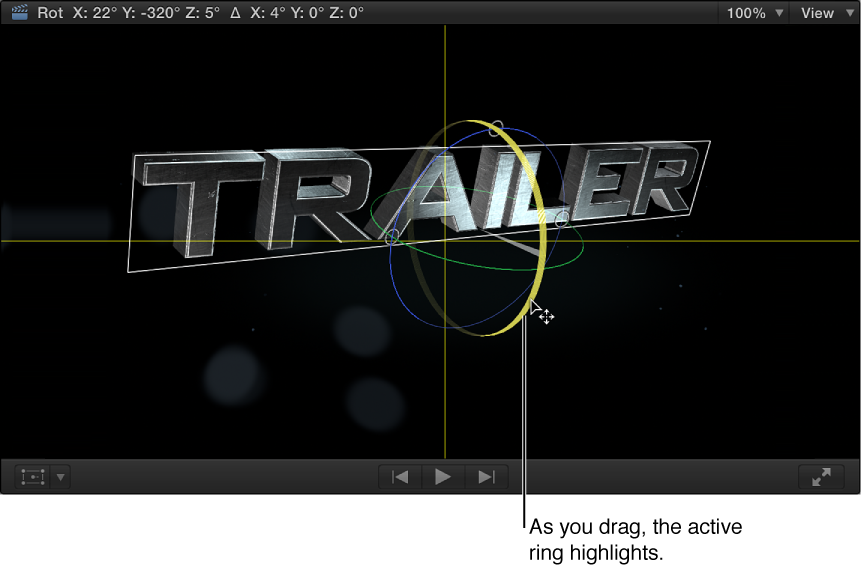 显示含旋转环屏幕控制的 3D 字幕的检视器