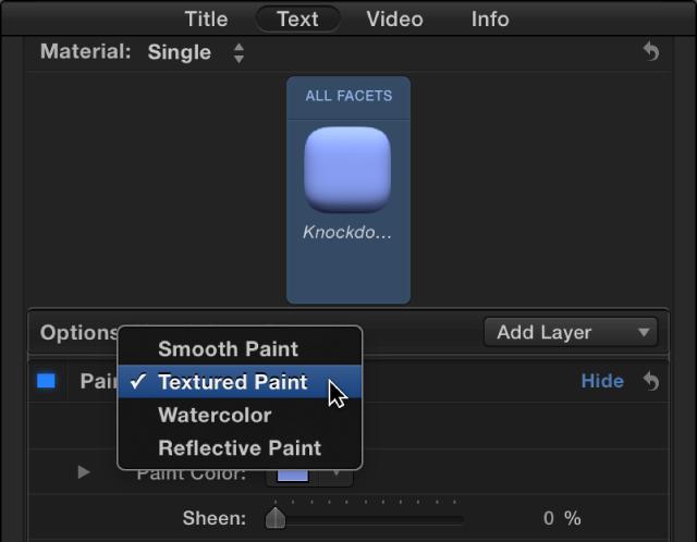 """显示""""油漆""""弹出式菜单的""""3D 文本""""检查器"""
