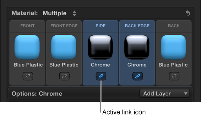 """显示两个所选面的""""文本""""检查器的""""材质""""部分,其中下面的蓝色链接图标表示面已链接"""