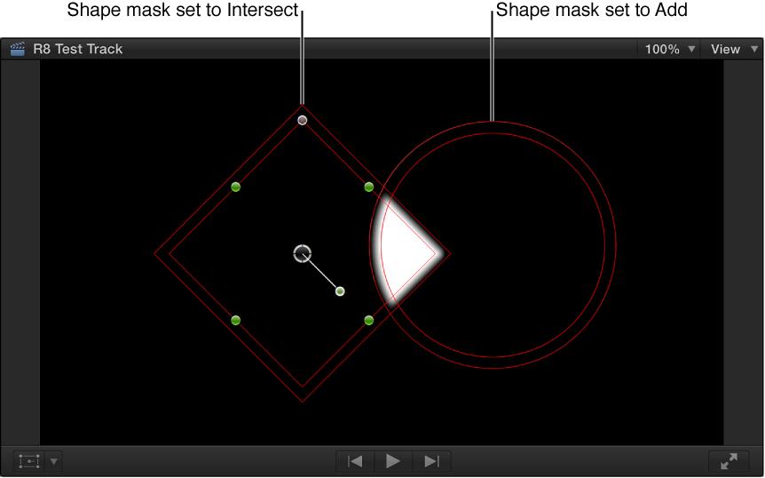 显示黑色背景上带白色阴影重叠区域的两个重叠黑色形状的检视器