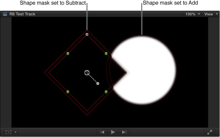 显示黑色背景上与白色形状重叠的黑色形状的检视器
