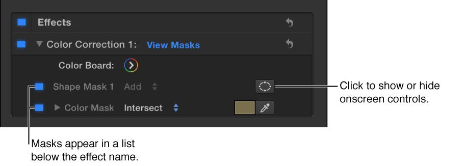 """显示形状遮罩和颜色遮罩的""""视频""""检查器的""""效果""""列表中的色彩校正"""
