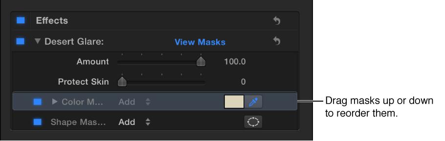 """显示颜色遮罩和形状遮罩的""""视频""""检查器中的""""色彩校正""""部分"""
