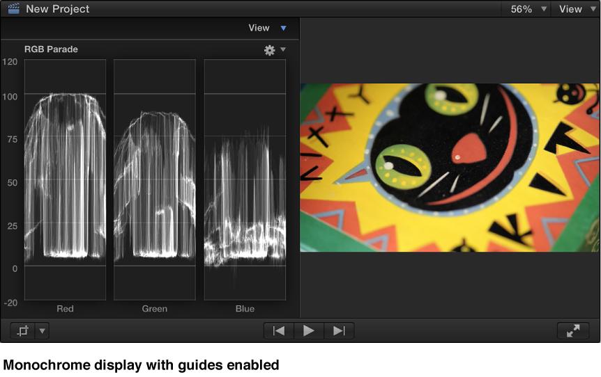 含参考线的检视器和单色 RGB 列示图直方图