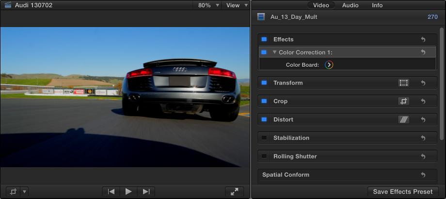 """显示应用了一个色彩校正的片段的检视器和""""视频""""检查器"""