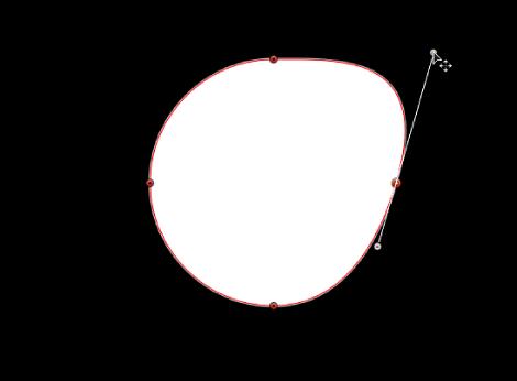 显示相对的切线控制柄中,要单独延伸的切线控制柄的检视器