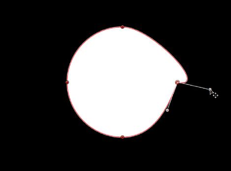 显示相对切线控制柄中,某个要单独旋转的切线控制柄的检视器