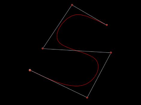 显示使用 B 样条曲线控制柄创建的 S 形曲线的检视器