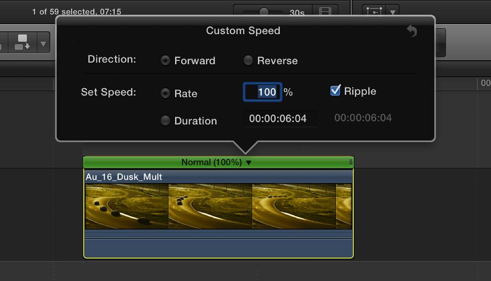 """显示""""自定速度""""选项的时间线,该选项位于所选片段上方"""