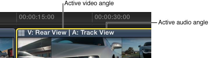 时间线中的多机位片段,其中显示了活跃视频的名称和音频角度