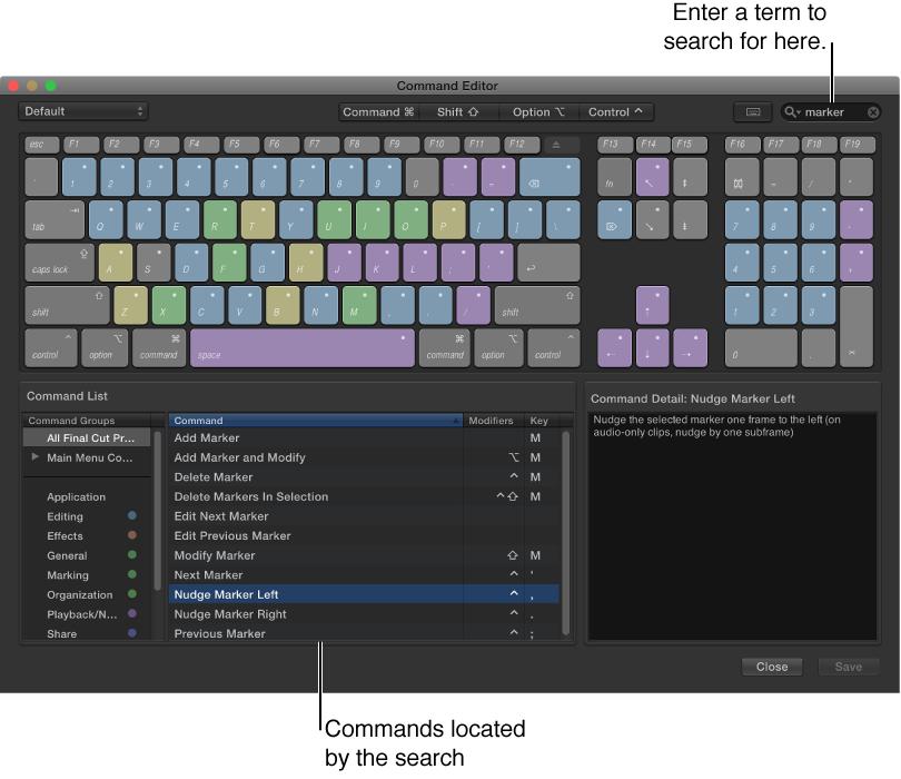 """显示搜索词和搜索结果的""""命令编辑器""""窗口"""