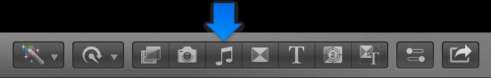 """工具栏中的""""音乐和声音""""按钮"""