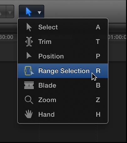"""""""工具""""弹出式菜单中的""""范围选择""""工具"""