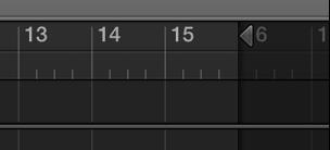 Figur. Projektets slutmærke på linealen i sporområdet.
