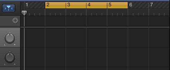 Figur. Det gule cyklusområde på linealen.