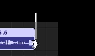 Figur. Markør til størrelsesændring på højre kant af et område