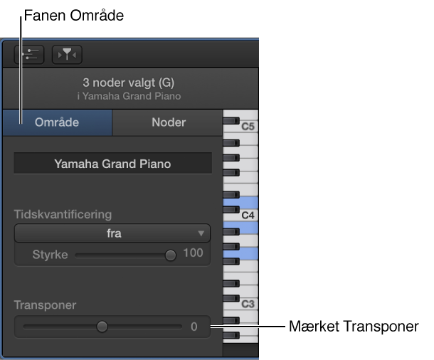 Figur. Info om klaverrulleværktøj med fanen Område og mærket Transponer