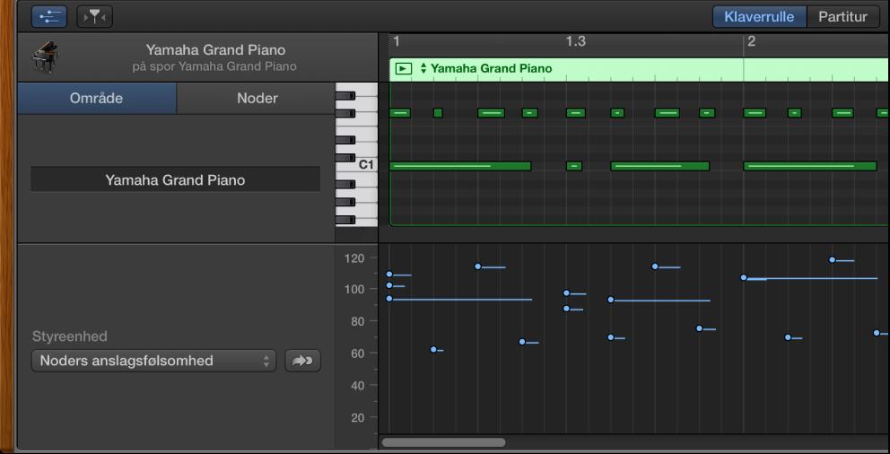 Figur. MIDI Draw-område i klaverrulleværktøjet