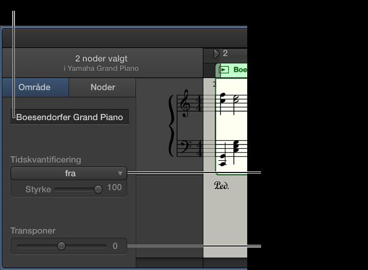 Figur. Info om partiturværktøj i områdefunktion med betjeningsmuligheder