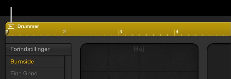 Figur. Drummer-områder med knappen Afspil