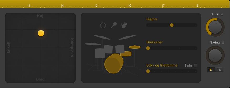 Figur. Drummer-værktøjet med indstillinger til præstation.
