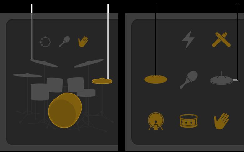 Figur. Drummer-værktøj med elementer i trommesættet, hvor lyden er slået fra og til