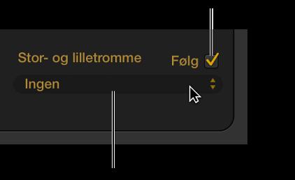 Figur. Drummer-værktøjet med afkrydsningsfeltet Følg rytme og lokalmenuen Følg spor