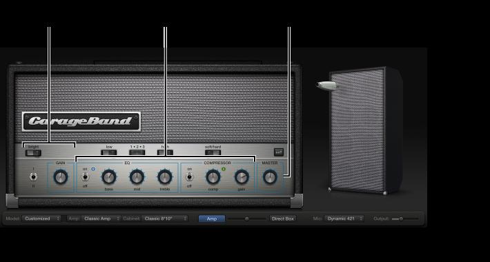 Figur. Bass Amp Designer-vindue med forskellige betjeningsområder.
