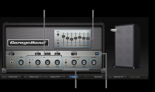 Figur. Bass Amp Designer viser betjeningsmulighederne EQ og Compressor.