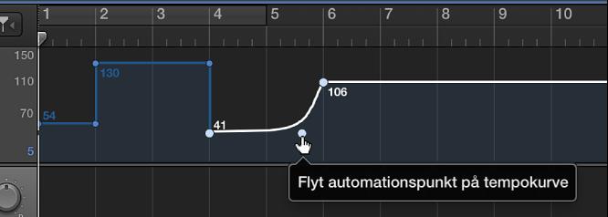 Figur. Tempospor, hvor der oprettes en tempokurve