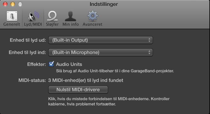 Figur. Vinduet Lyd/MIDI.