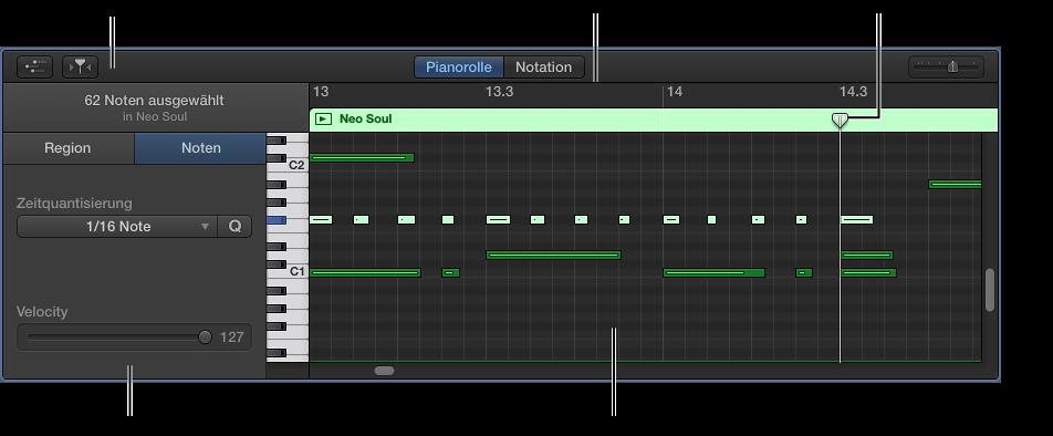 Abbildung. Pianorolleneditor mit hervorgehobenem MIDI-Noten-Event.