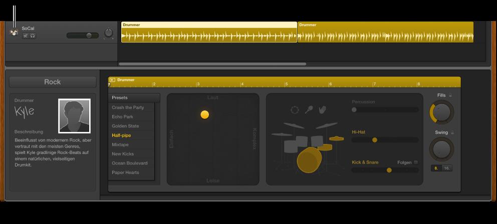 Abbildung. Drummer-Spur und Drummer-Editor