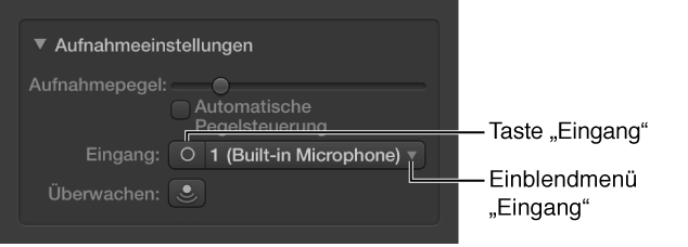 """Abbildung. Input-Taste und Einblendmenü im Informationsfenster """"Smart Controls""""."""