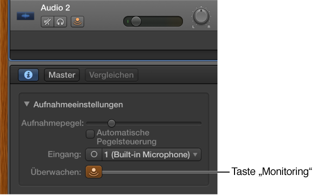 """Abbildung. Taste """"Input Monitoring"""" im Informationsfenster """"Smart Controls""""."""