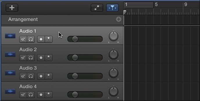 Abbildung. Auswählen des Headers einer Audiospur.
