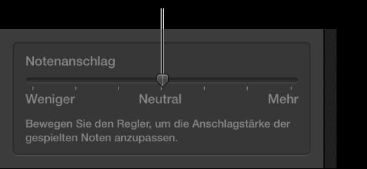 """Abbildung. Regler für die Anschlagsempfindlichkeit im Informationsfenster """"Smart Controls""""."""