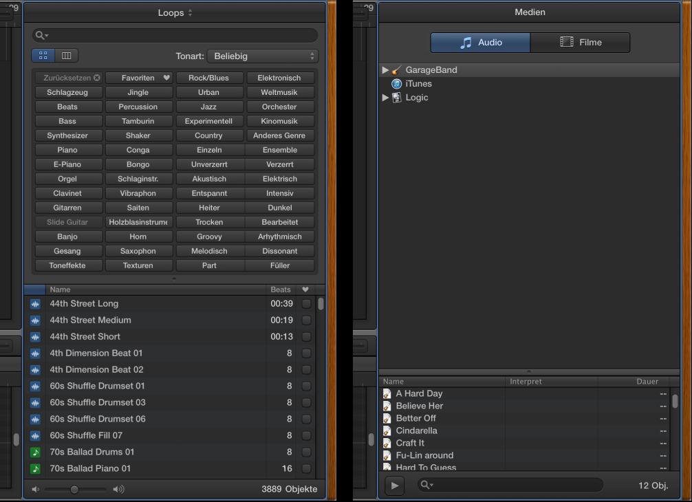 Abbildung. Loop-Browser und Medienübersicht nebeneinander.