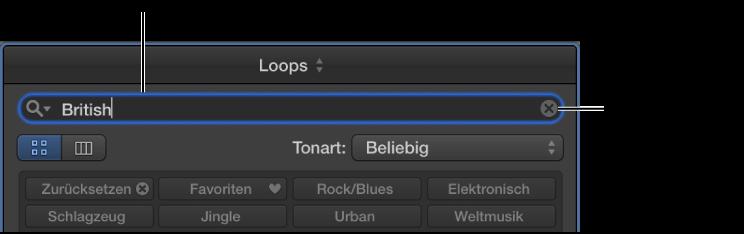 Abbildung. Suchfeld im Loop-Browser