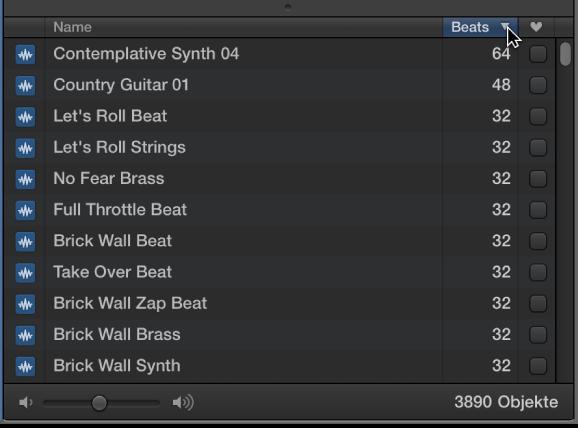 """Abbildung. Zeiger auf dem Spaltentitel """"Beats"""" im Loop-Browser."""