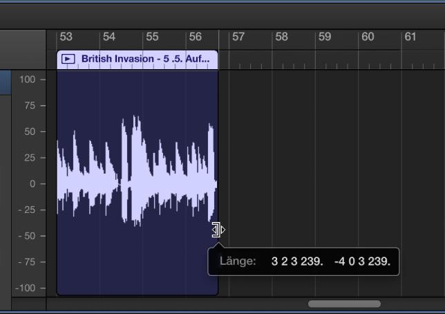 Abbildung. Trimmen einer Region im Audioeditor. Hierbei werden Trimmzeiger und Info-Text angezeigt.