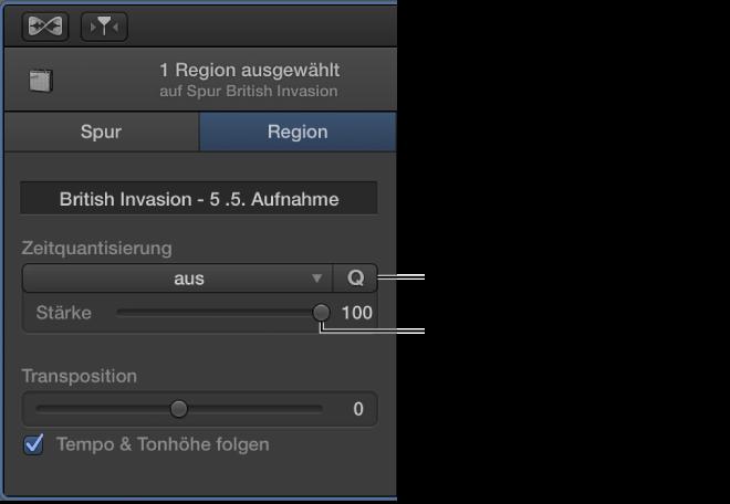 """Abbildung. Informationsfenster """"Audioeditor"""" mit Einblendmenü """"Zeitquantisierung"""" und Schieberegler """"Stärke""""."""