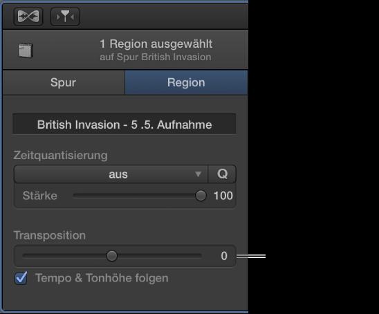 "Abbildung. Informationsfenster ""Audioeditor"" im Regionsmodus mit dem Transpositionsregler."