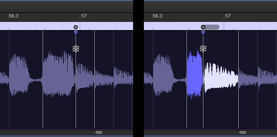 Abbildung. Zwei Audioregionen, mit Region vor und nach dem Verschieben eines Flex-Markers nach links.